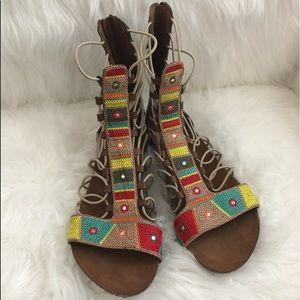 Mia Gladiator Sandals Embroidered Sparkle